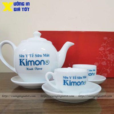 Bộ ấm chén dáng Minh Long in logo