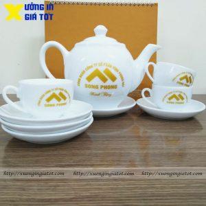 Bộ ấm chén dáng Minh Long in logo vàng nhũ