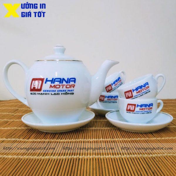 Bộ ấm chén dáng Minh Long vẽ vàng in logo