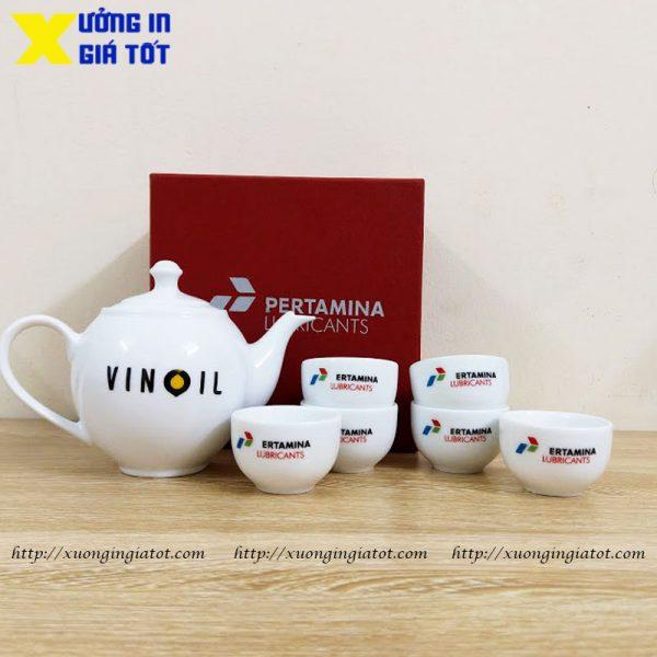 Bộ ấm chén Minh Long 3 in logo