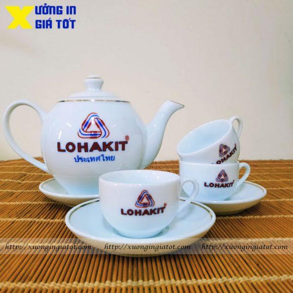 Bộ ấm chén trắng in logo Lohakit