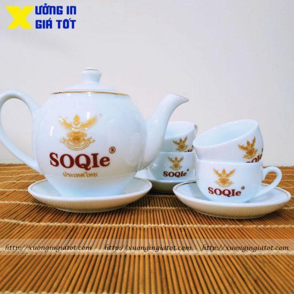 Bộ ấm chén trắng in logo SOQIe