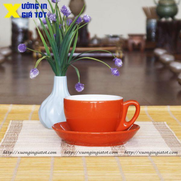 Tách cà phê Cappuccino cam